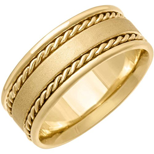 14k Gold Flat Edge (14K Gold Braided Rope Edge Men's Comfort Fit Wedding Band (8mm) Size-13.5c1)