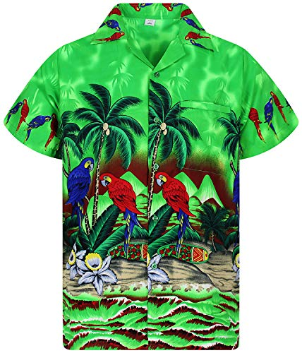 (Funky Hawaiian Shirt, Parrot, green,)