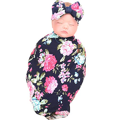 BQUBO Newborn Baby Receiving Blankets Newborn Baby Floral Swaddling with Headbands or Hats Infant Sleepsack