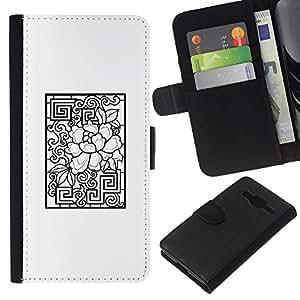 KLONGSHOP // Tirón de la caja Cartera de cuero con ranuras para tarjetas - Modelo blanco Negro abstracto - Samsung Galaxy Core Prime //