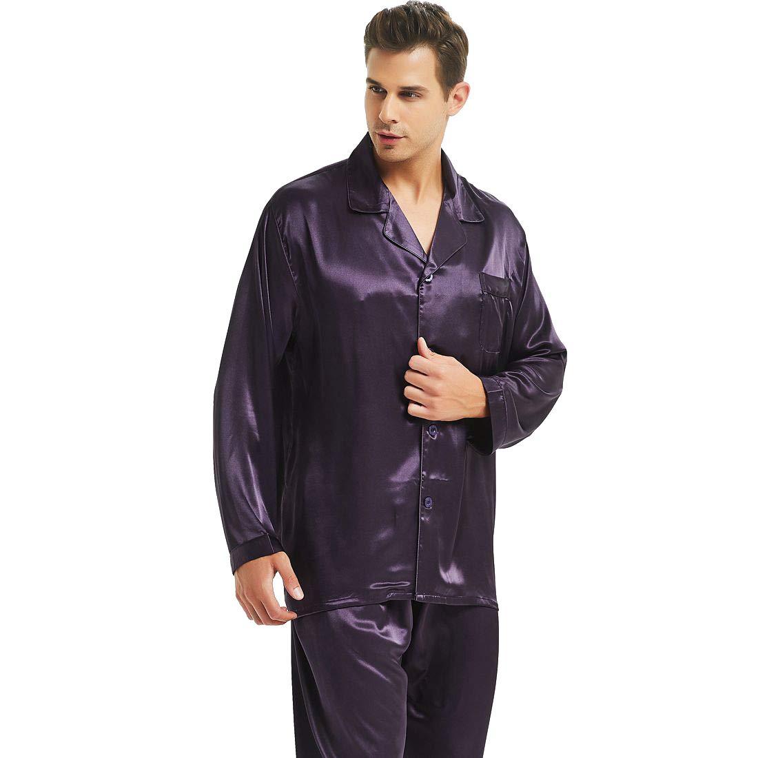 Mens Silk Satin Pajamas Set Purple L