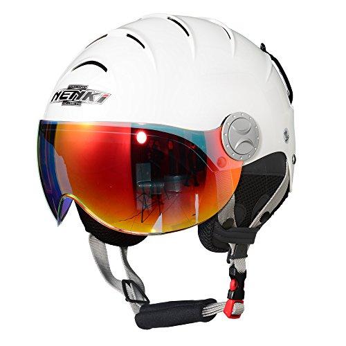 NENKI Helmets NK-2012 Ski Helmet with Visor (Glossy White,Iridium Red Visor, Small 53-54CM)