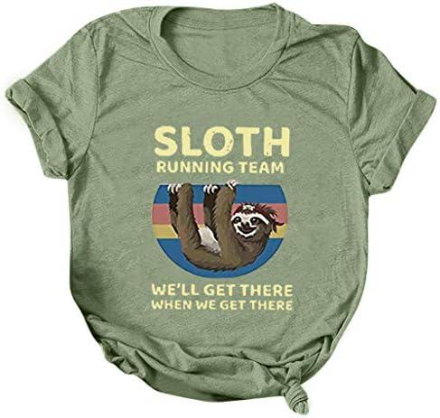 FINME Sloth Running Team Shirt Womens Sloth Print Short Sleeve T-Shirt Casual Loose Summer Tops Classic Graphic Tees