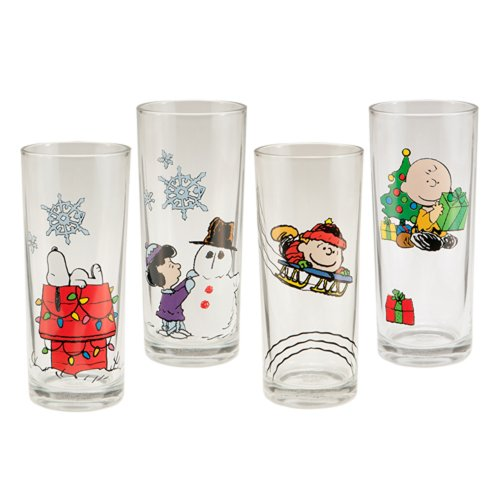 Vandor LLC 85179 Peanuts Holiday 10-Ounce Glass Set, Set of 4, Multicolored - Holiday Glasses