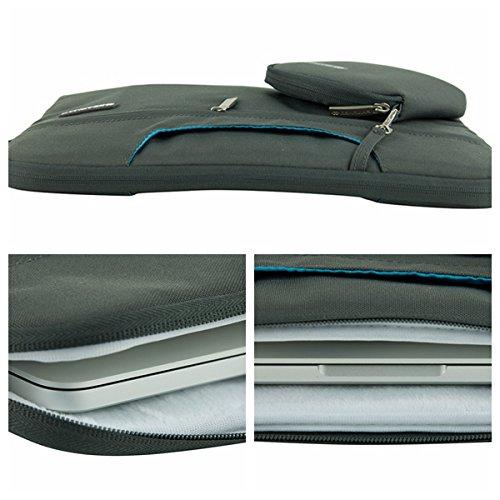 SunSmart Universal de 15.4 pulgadas caja del filtro de la manga del ordenador portátil de la bolsa maletín con asa transformable y bolsa de accesorios para portátil de 15.4 pulgadas / Macbook Pro 15.4 gris