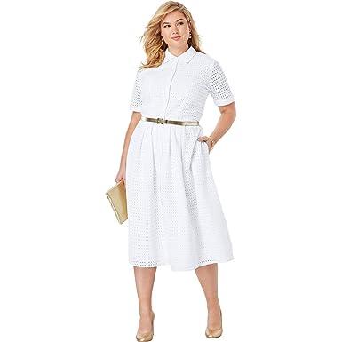 Jessica London Women\'s Plus Size Eyelet Shirt Dress at ...
