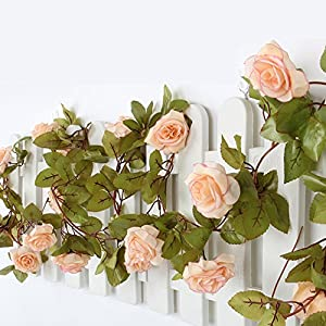 Aasri 2PCS Artificial Flowers Vine (7.7 FT and 17pcs of Rose each vine) Fake Flower Garland for Decoration of Home, Wedding, Party, Office (Pink & Champagne) 10