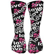 NUNOFOG Unisex Funny Printed LoveHigh Compression Socks Soccer Stockings