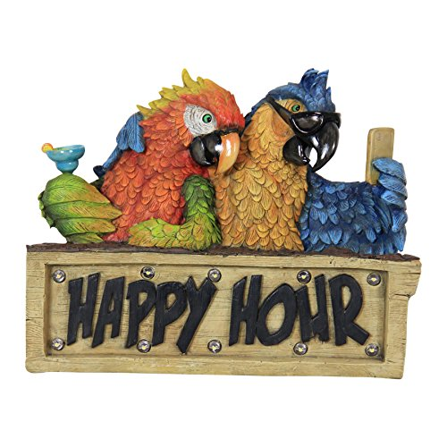 "Exhart Happy Hour Parrot Statue w/Solar Accent Lights - Solar-Powered Parrot Happy Hour Sign, Resin Parrot Wall Decorations, Parrot Décor Party Sign, Parrot Sign Decorations, 12"" L x 5"" W x 10"" H"
