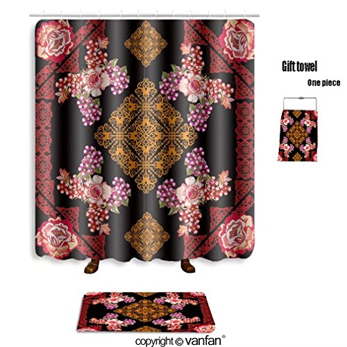 vanfan bath sets with Polyester rugs and shower curtain illustration with rose floral square decorati shower curtains sets bathroom 36 x 72 inches&23.6 x 15.7 inches(Free 1 towel and 12 hooks)