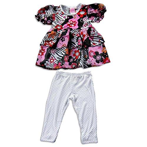 Lipstik Skirt Girls - Lipstik - Little Girls Short Sleeve Pant Set, Pink, Black 21266-4T