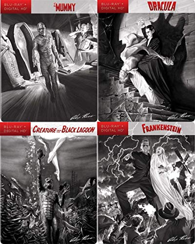 Original Limited Classics Universal Monsters Steelbook Collection Mummy Boris Karloff / Dracula Bela Lugosi Bram Stoker / The Creature from the Black Lagoon 2D & 3D Alex Ross Collectible Covers ()