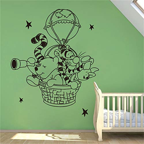 Winnie The Pooh Wall Decal Sticker Wall Decal Hot Air Balloon Vinyl Decal Nursery Room Home Decoration Waterproof