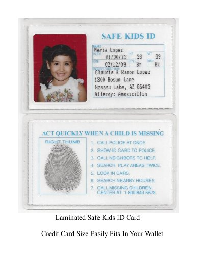 amazoncom safe kids id laminated id cards child id for kids 5 ids for this price baby - How To Make Id Card