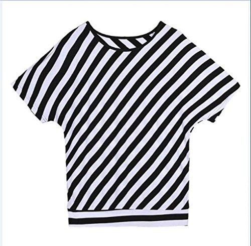 Sottile In Strisce E Corte Allentata Maniche Nero A Momo412654 Bianco Maglietta Nere Bianche HqICI8