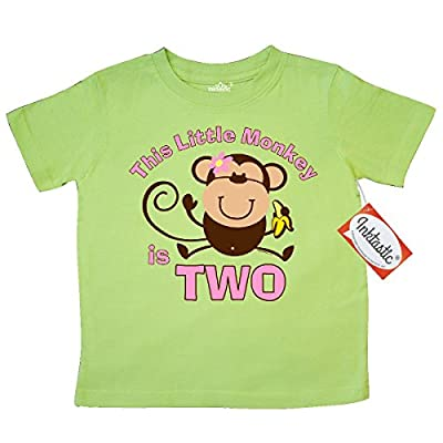 Inktastic Little Girls' Little Monkey 2nd Birthday Girl Toddler T-Shirt