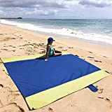 Lekebaby Oversize Outdoor Beach Picnic Blanket Soft Lightweight and Sand proof Nylon (210 x 220 cm) Blue