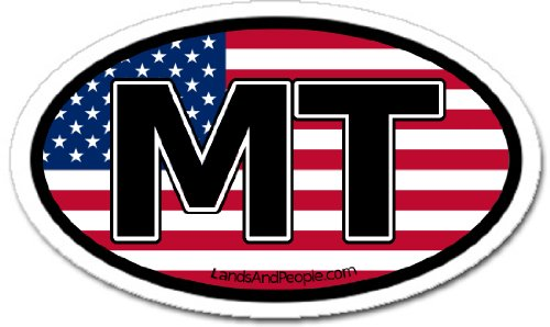 Montana MT and US Flag Car Bumper Sticker Decal Oval