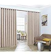LinenZone Evelyn - Wall-to-Wall Extra Wide Embossed Blackout Grommet Curtain Panels with 2 Rope T...