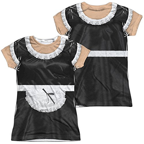 A&E Designs French Maid Halloween Costume Juniors T-Shirt Front & Back, Medium Multicolored]()