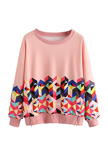 ROMWE Women's Color Block Long Sleeve Top Geo Print Zipper Side Sweatshirt Pullover Multicolor Pink XL