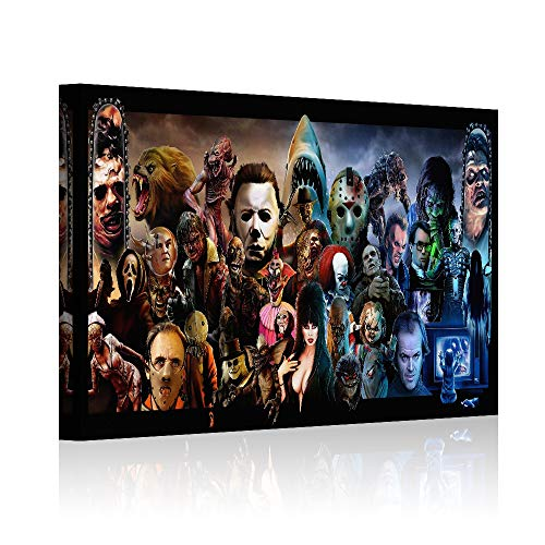 """HAOSHUNDA Horror Movies Oil Painting on Canvas Posters and Prints Decoracion Wall Art Picture Living Room Wall (12"""" x 18"""", Artwork - 05)"""