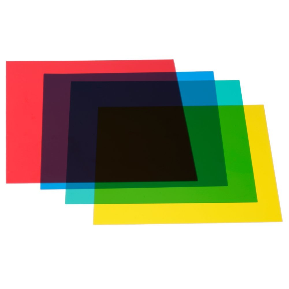 Neewer 12x12inches/30x30centimeters 4-Color Correction Gels Light Filter Transparent Film Sheet for Flash Strobe: Red Yellow Green Blue by Neewer