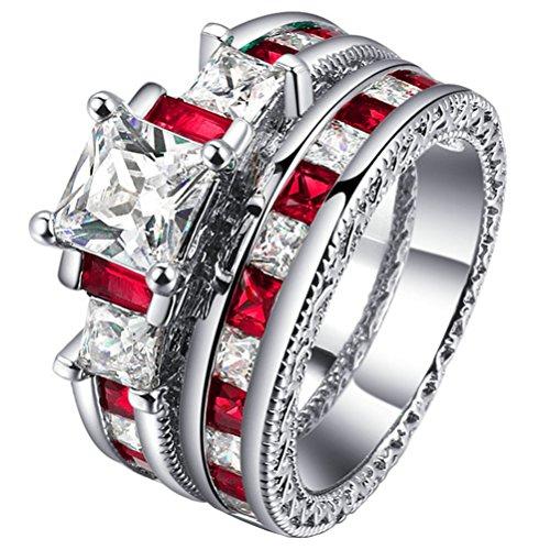 Women's Princess Cut 3 Stone Wedding Engagement Ring Sets 18K Gold Plated Eternity Created Ruby CZ Promise Rings Enhancer Size 9 (Wedding Band Set White Gold)