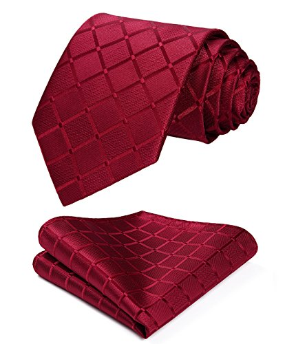 (HISDERN Plaid Red Tie Handkerchief Woven Classic Stripe Men's Necktie & Pocket Square Set)