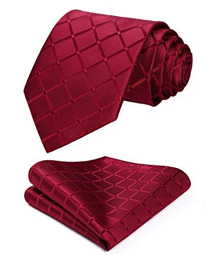 HISDERN Plaid Red Tie Handkerchief Woven Classic Stripe Men's Necktie & Pocket Square Set