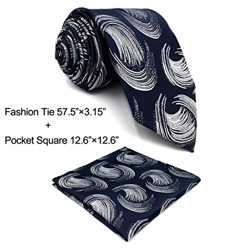 Shlax&Wing Geometric Blue Silver Neckties Mens Ties Set Classic 57.5