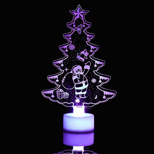Merry Christmas Color Changing Christmas Santa Claus Snow Xmas Tree Pine Acrylic Mini Night Light Table Desktop Stand Lamp Decors Home Decorations Party Favors Festival Supply