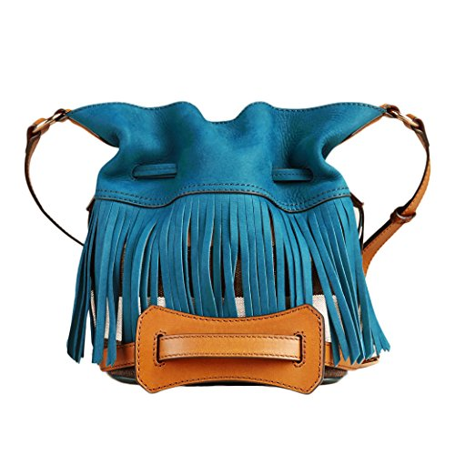 Burberry Canvas Check Fringe Ashby Teal Blue Crossbody - Online Shop Burberry