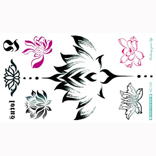 DZT1968 Stylish Sexy Waterproof multicolour Temporary Tattoos Flash Body Sternum Back Paint Flowers Wing Stickers 240X138mm H