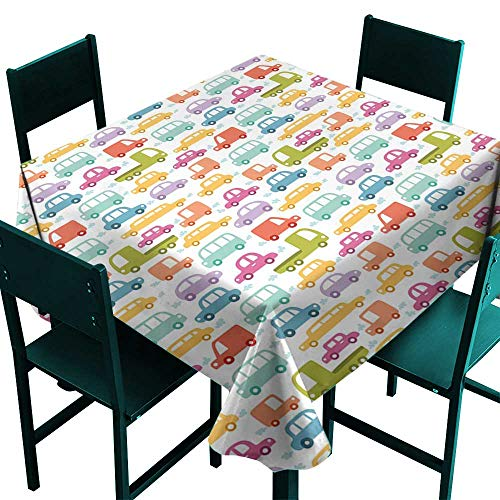 Glifporia Waterproof Tablecloth Rectangle Cars,Lovely Drive on a Sunny Fun Summer Day Theme with Colorful Buses Trucks Exhaust Fumes,Multicolor,W50 x L50 Fabric Print Tablecloth