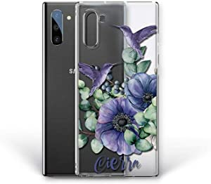 Kaidan Samsung Galaxy Case S9 S8 Plus Blue Flowers Note 9 10 20 Lite S10 + S21 S20 Ultra Custom Name iPhone 8 7 6 6S SE Hummingbirds 11 Pro Max 12 Mini XR XS Flora Compatible LG Google Pixel 5 4 app21