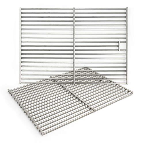 Hongso 17 3/8 Solid 304 Grill Grates, Cooking Grids Replacement for Charbroil 466446015, 463241113, 463446017, Broil King Baron 320, Master Forge 1010037 Gas Grills, 2 Pieces,(SC1712)