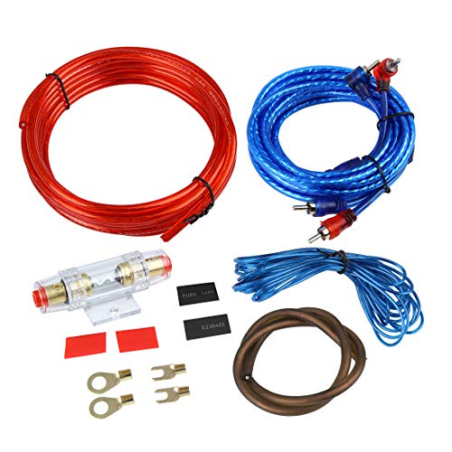 uxcell Universal Car Amplifier Wiring Kit Audio Subwoofer RCA Power Cable Fuse Set