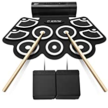 Electronic Drum Kits, Lujex 9 Pads Portable Roll Up Drum Pad for Kids Beginners, Foldable Practice Instrument with 2 Foot Pedals and Drum Sticks (Built-in Speaker)