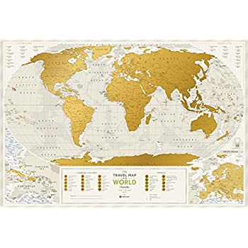 "Detailed Scratch Off Travel World Map - Premium Edition - 34.6"" x 23.6"" - Large Places I've Been Travel Map by 1DEA.me - You Can Mark Over 10 000 Cities and Places"