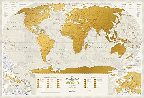 Detailed Scratch Off Travel World Map - Premium Edition - 34.6
