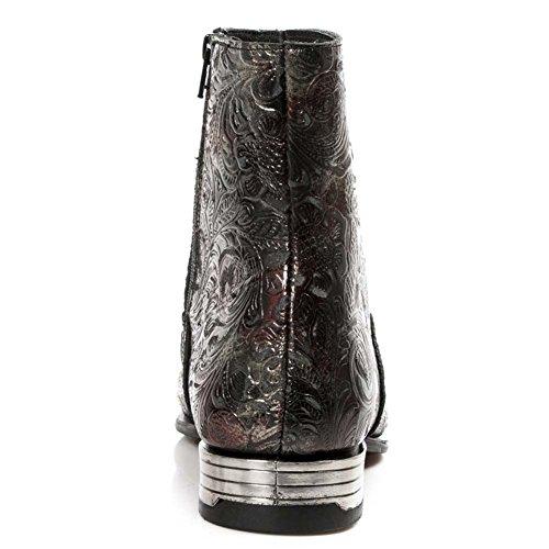 New Rock M.NW121-S23 Herren Vintage Flower VIP Rot Leder Stiefel Rot