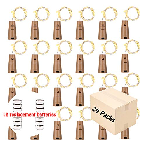 GardenDecor Wine Bottles String Lights, 24 Packs Micro Artificial Cork Copper Wire Starry Fairy Lights, Battery Operated Lights for Bedroom, Parties, Wedding, Decoration(24 Packs 2m/7.2ft Warm White)