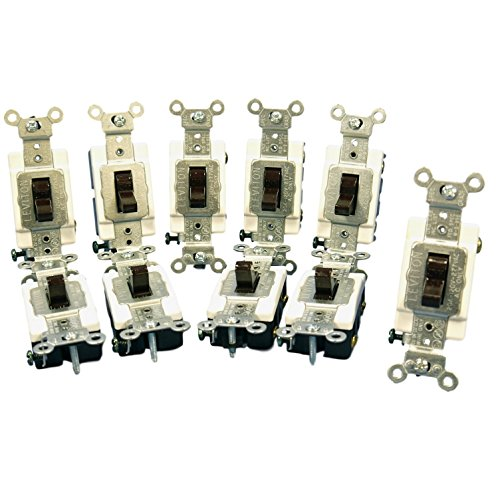 Leviton 1221-S 20 Amp Single-Pole Toggle Switch Industrial - Brown (Pkg of 10)