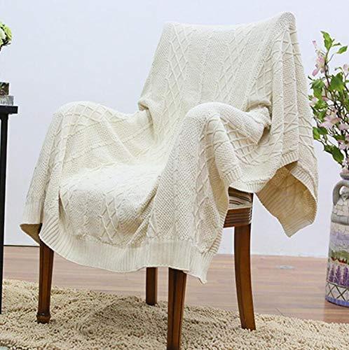JOYS CLOTHING 軽量夏用毛布、ソファ用コットンケーブルニットスローブランケット、エアコンルーム (Color : ホワイト, サイズ : 78