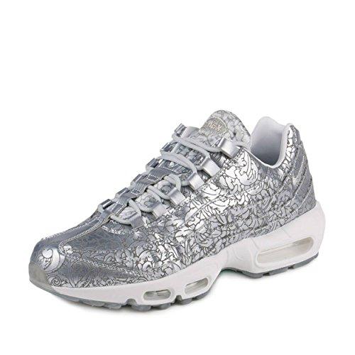 Nike Mens Air Max 95 Anniversary QS Pure PlatinumMetallic Silver Leather Size 10.5