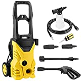 3000 PSI 1.7GPM Electric High Pressure Washer w/Power Hose Nozzle Gun 5 Quick-Connect Spray Tips and Metal Rod [US STOCK] (Yellow)