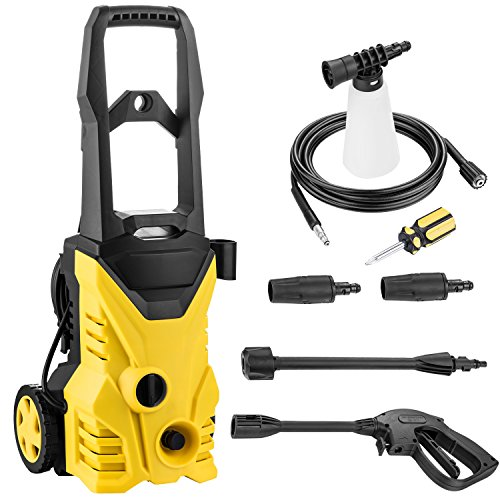 (Flyerstoy Electric Pressure Washer, 1650PSI-1.4GPM-1600W Power Washer,High Pressure Cleaner Machine With Spray Gun and 5 Quick-Connect Spray Tips (1650PSI-1.4GPM-1600W_Yellow))