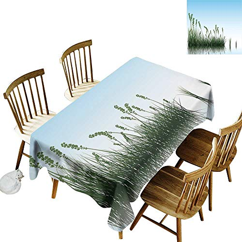 (kangkaishi Landscape Waterproof, Anti-Wrinkle, no Pollution Long Tablecloth Scenery of a Lake Bushes Grass with Reflection Floral Art Image Print W52 x L70 Inch Pale Blue Jade Green_1)