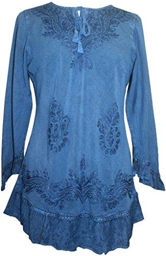 147 B Gypsy Medieval Bohemian Ruffle Top Blouse [Blue; 3X]